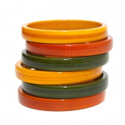 Vegetable dyed wooden bangles sets