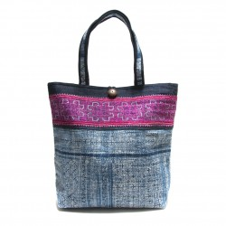 LARGE VINTAGE FABRIC TOTE